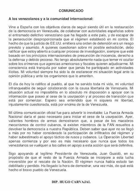 ¡Entérese! Hugo Carvajal revela detallazo sobre la Operación Libertad