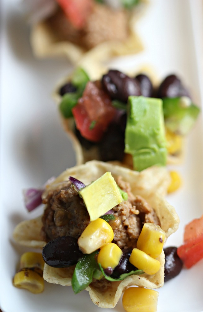 Mini Taco Bites with Black Bean & Fire Roasted Corn Salsa