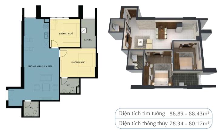 Mặt bằng căn hộ 78,34m2 và 80,17m2