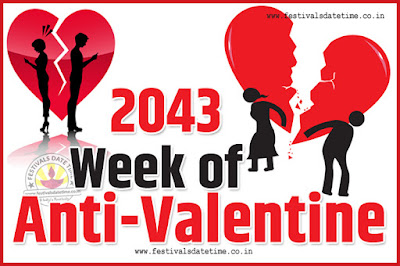2043 Anti-Valentine Week List, 2043 Slap Day, Kick Day, Breakup Day Date Calendar