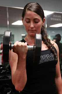Woman with ponytail at gym