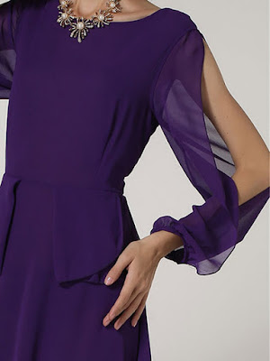 Sleeve slits trend - Purple Slit Sleeve Cold Shoulder Elegant A-line Maxi Dress from MINGYSYI - Price: $56.00(20% off)