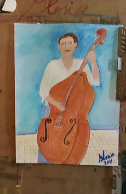 Man with cello sketch by Gloria Poole : Missouri; 2011