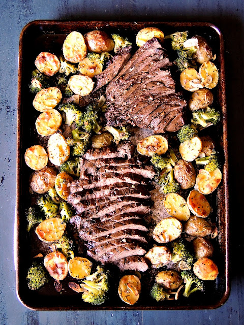 Sheet Pan Steak with Potatoes and Broccoli