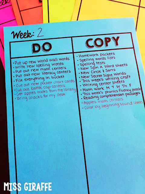 FREE Teacher To Do List! Teacher trick - Write down the things you do and copy every week THEN make copies of it before you add to it each week. Saves so much time!