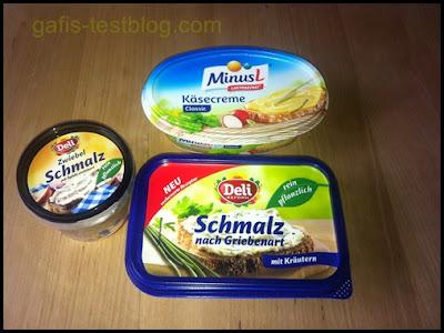 """1x MinusL Käsecreme, 1x Deli Reform pflanzliches Schmalz """"nach Griebenart"""" und 1x """"Zwiebelschmalz mit Äpfeln"""""""