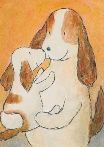 Postcard illustration of small Haukku spaniel puppy on mother's lap