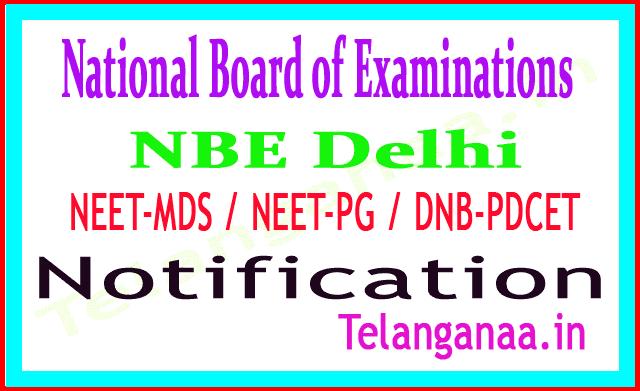 National Board of Examinations (NBE) Delhi NEET-MDS / NEET-PG / DNB-PDCET 2019 Notification