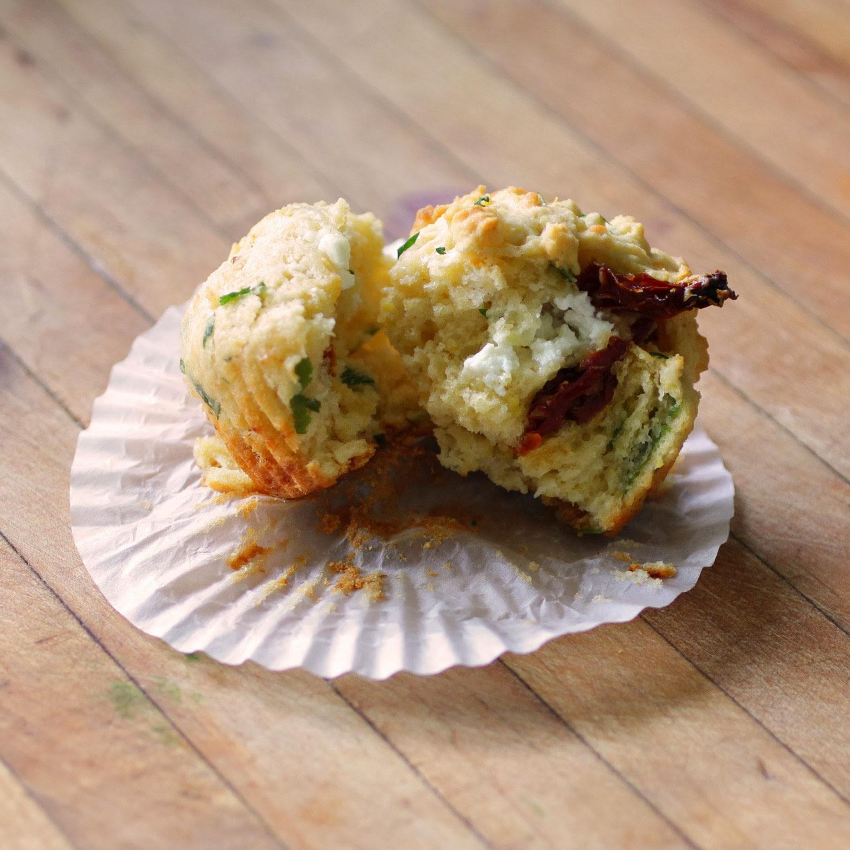 Savory Sun-dried Tomato Muffins w/Chevre and Pecorino www.recipefiction.com