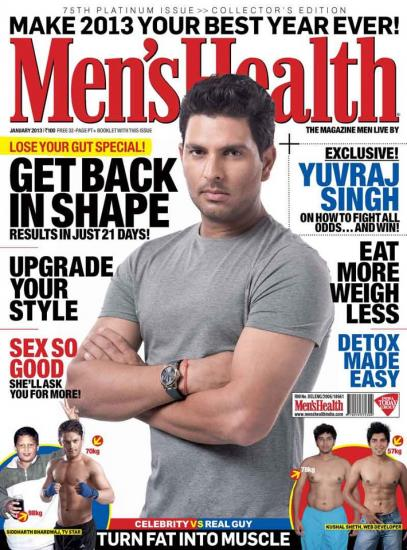 Yuvraj Singh On Men's Health India - January 2013