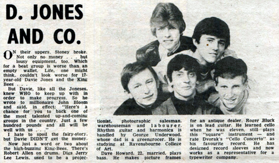 Davie Jones with The King Bees, review 1964