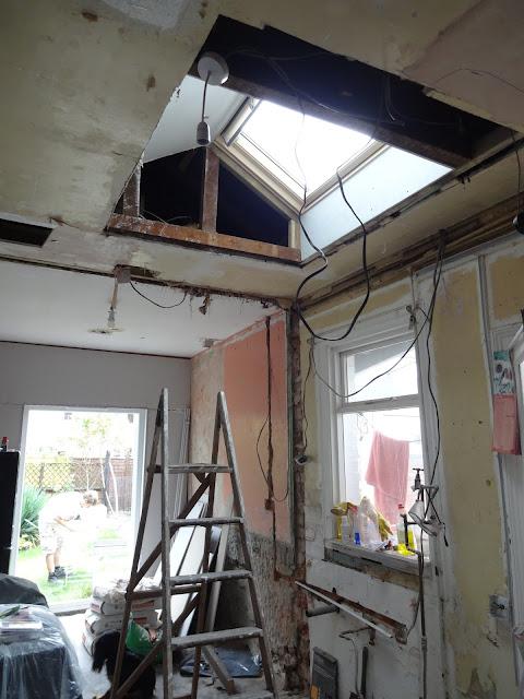 plasterboarding a window in flat ceiling