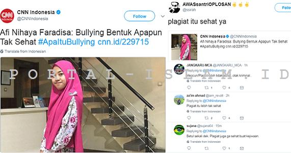 Afi: Bullying Tidak Sehat, Netizen: Emang Kalo Plagiat Sehat?