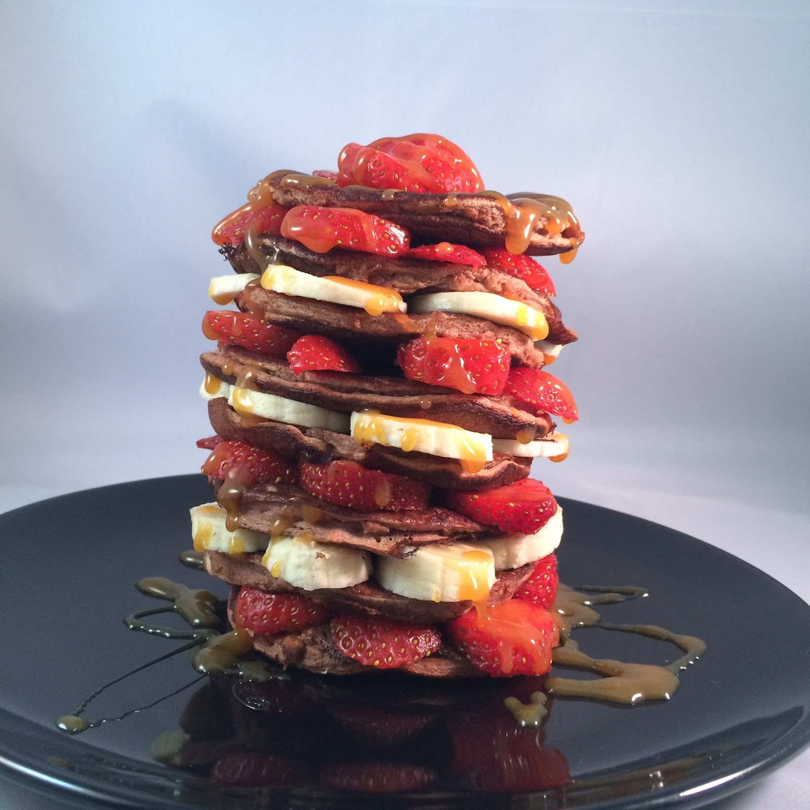 chocolate banana sci-mx protein pancake stack with toffee sauce recipe