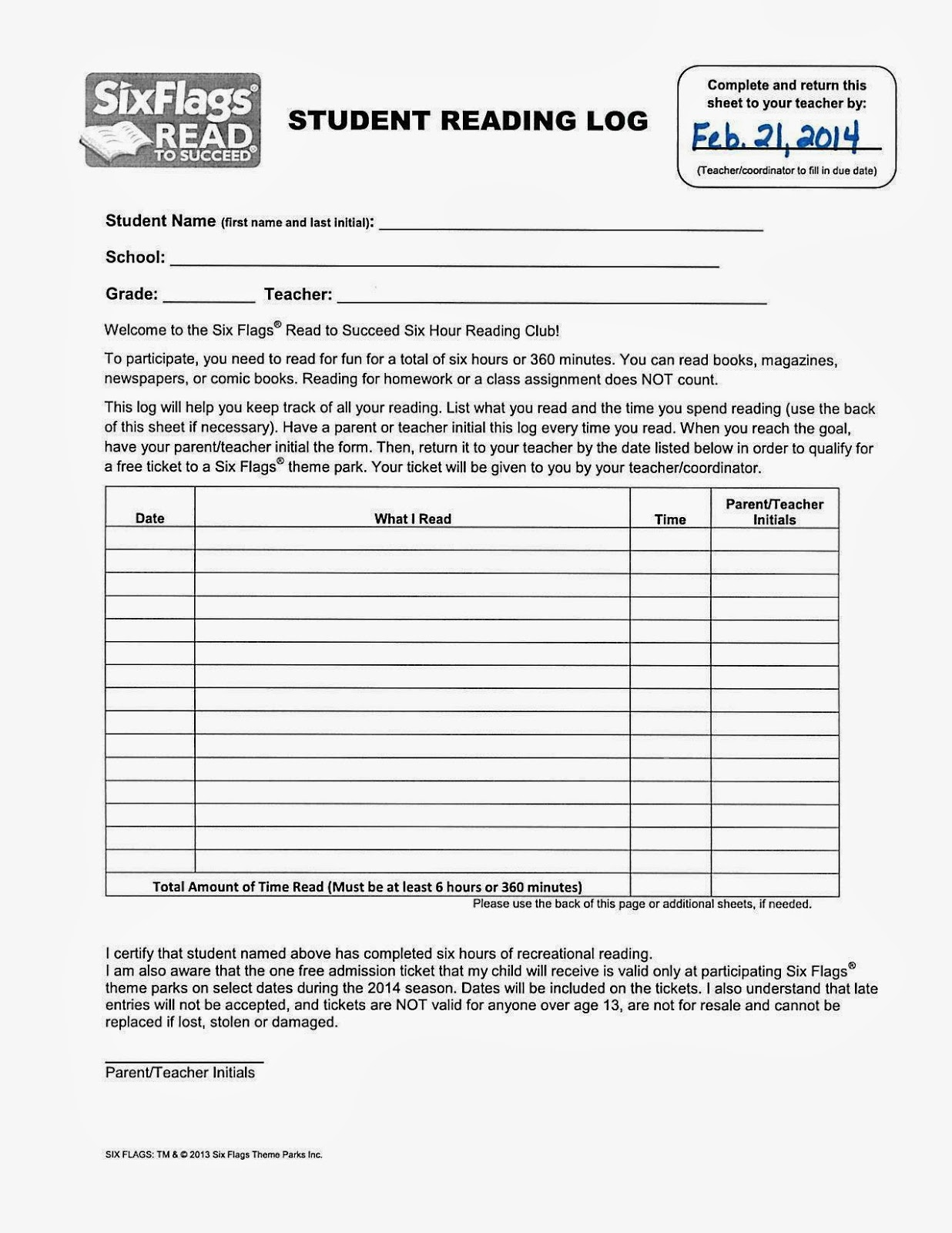 Free Printable Reading Logs With Summary
