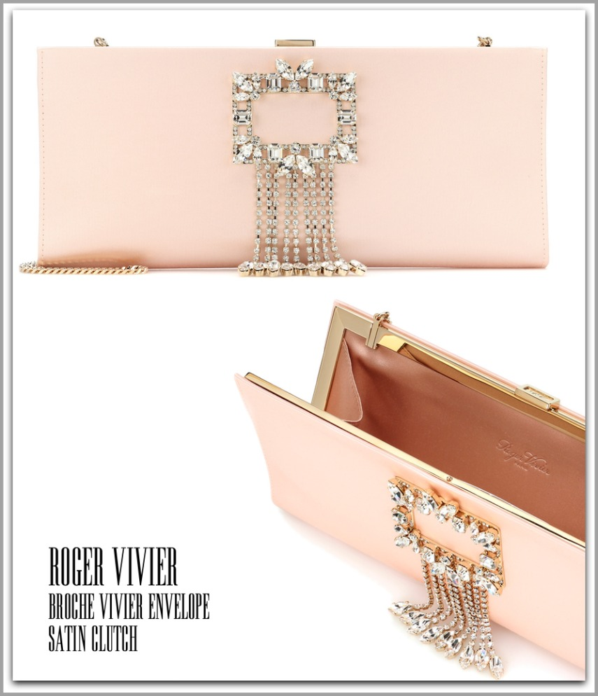 ROGER VIVIER Broche Vivier Envelope Satin Clutch