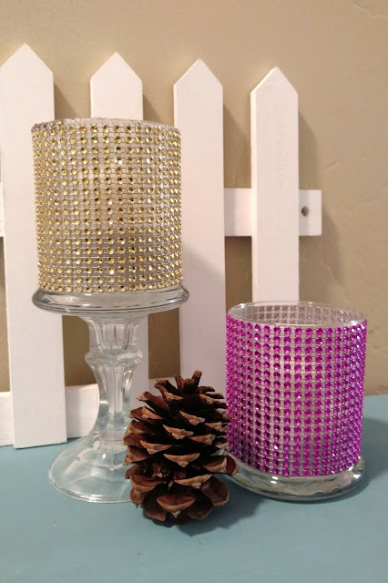 I made these pretty jeweled vases using craft supplies that can all be found at the dollar store!