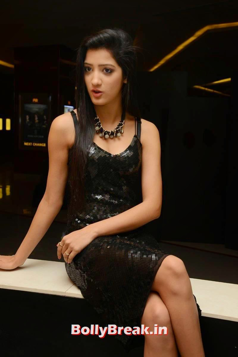 Richa Panai Photo Gallery, Richa Panai Hot Hd Pics in Shiny Black Short Dress