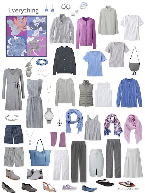 capsule wardrobe in grey and white with accents of orchid and blue