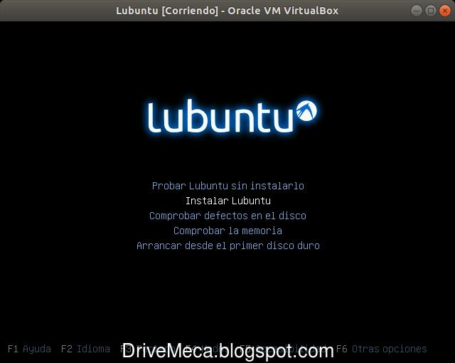 Elegimos la opcion Instalar Lubuntu en el menu