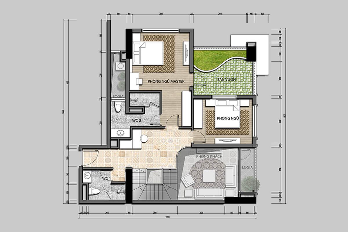 Penhouse Tầng 2 Iris Garden