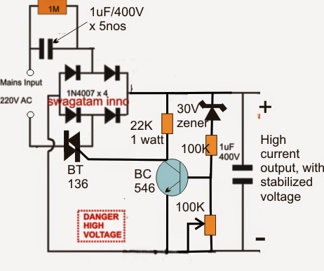 High Current Transformerless Power Supply Circuit