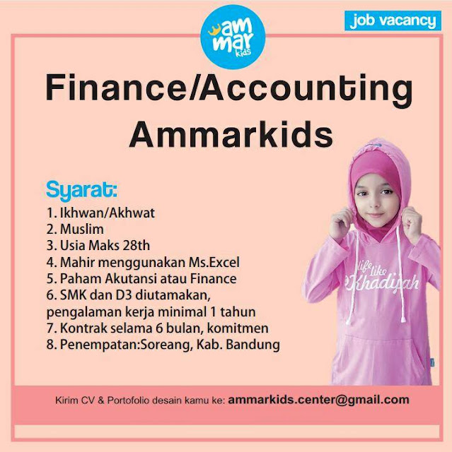 lowongan kerja finance ammarkids bandung