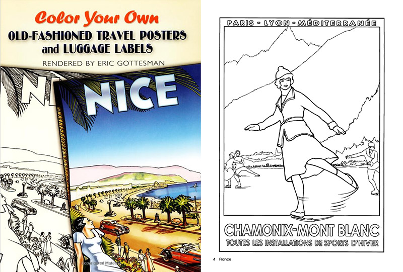 Many Designers Have A Fondness For Vintage Travel Posters Luggage Stickers And Classic Movie Here Are Coloring Books That Allow You To Color Your