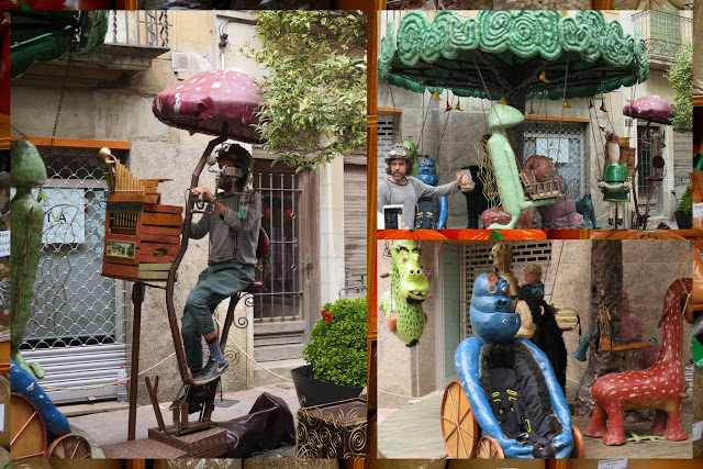 Pedal powered steampunk carousel in Palafrugell in Costa Brava, Spain