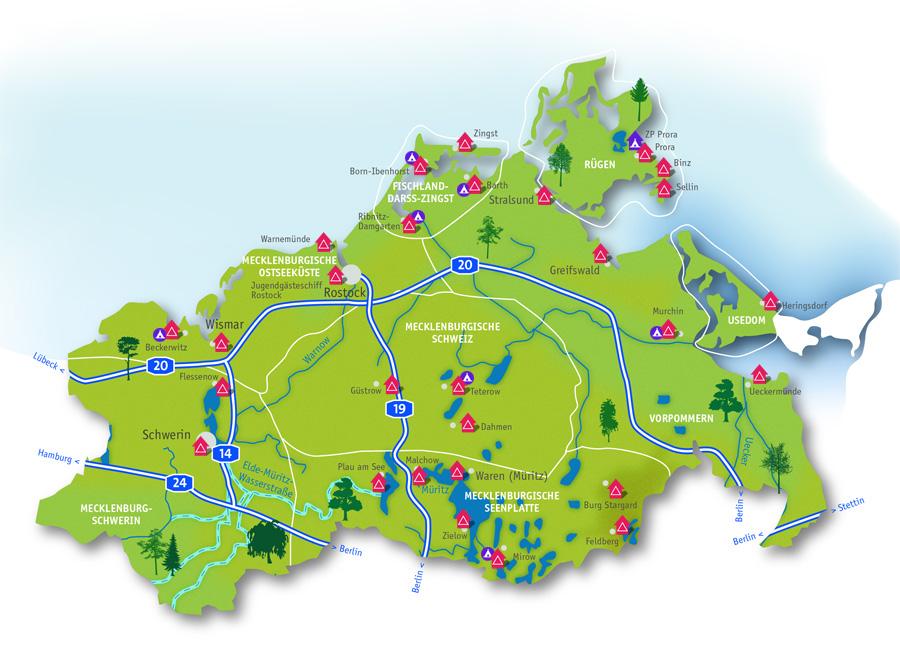 Jugendherbergen Mecklenburg Vorpommern Karte