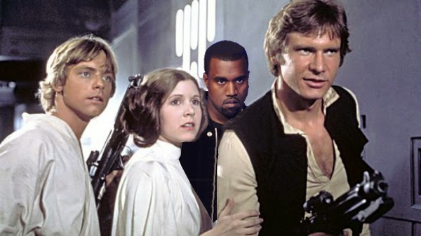 Kanye West photobombs Star Wars