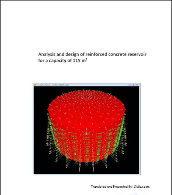 Analysis and design of reinforced concrete reservoir for a capacity of 115 m3