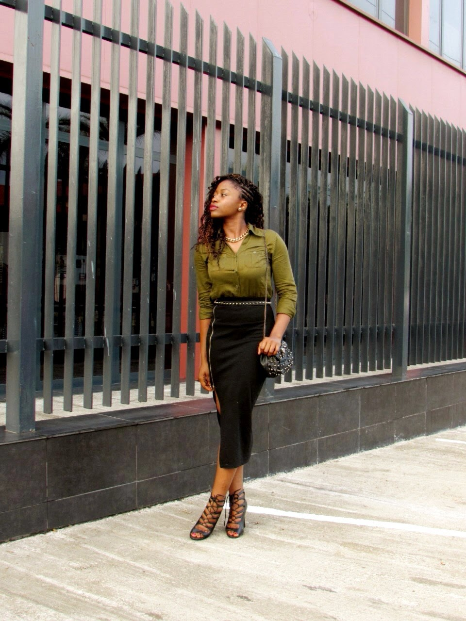 khaki, lace-up booties, side slit, military trend