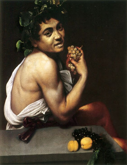 "Caravaggio, Self-portrait as "" Bacchus""- Dionysos (1593)."