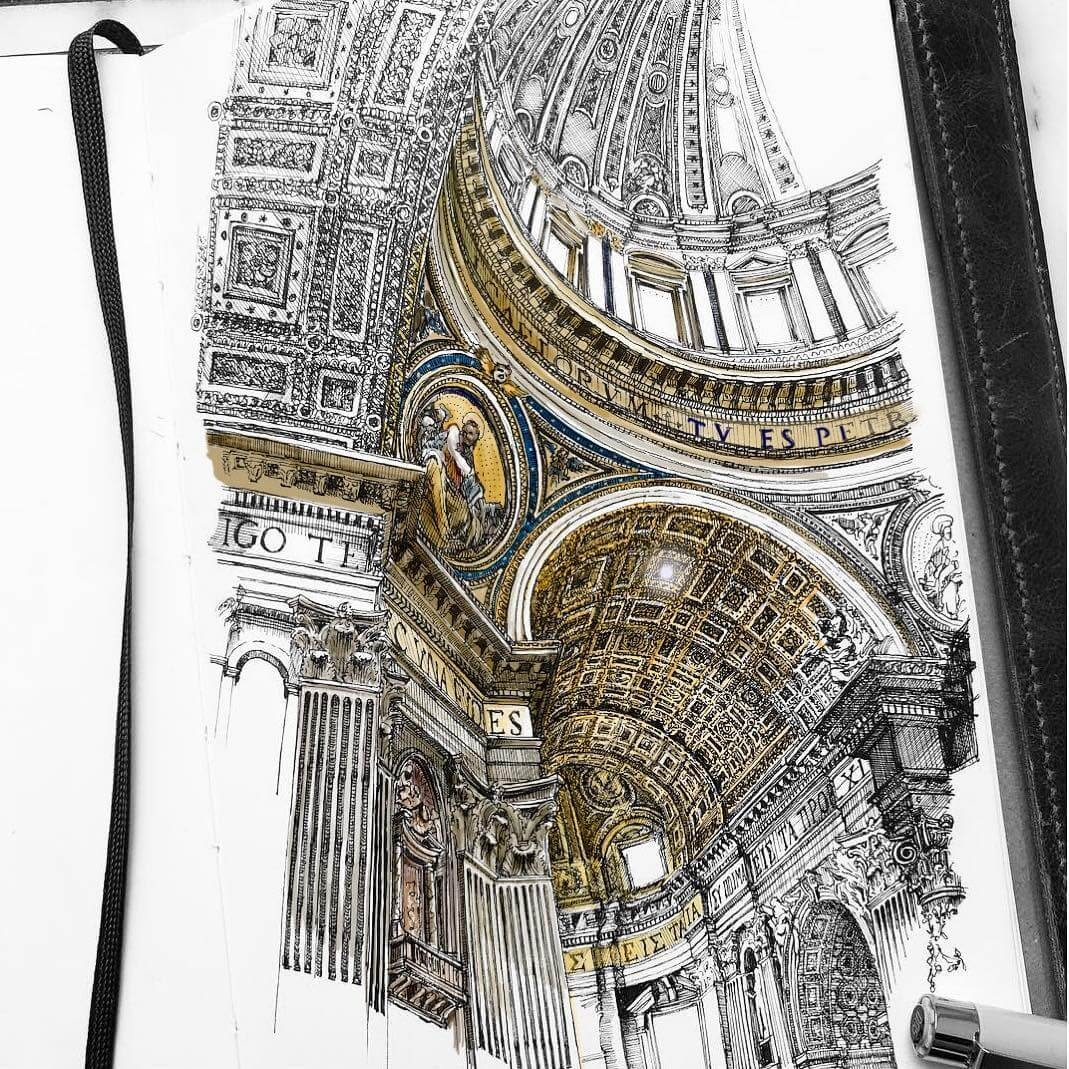 03-St-Peter-s-Vatican-City-Rome-MISTER-VI-Architectural-Drawings-From-Around-the-World-www-designstack-co