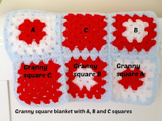 red, light blue and white granny squares