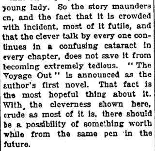 I stumbled into the NYT review of Virginia Woolf s first novel.