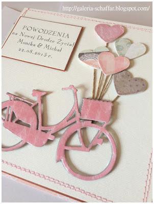 nietypowa słodka różowa kartki okolcznośćiowe wykrojnik rowerek galeria schaffar