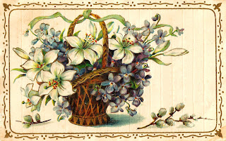 flower basket gift tag label image
