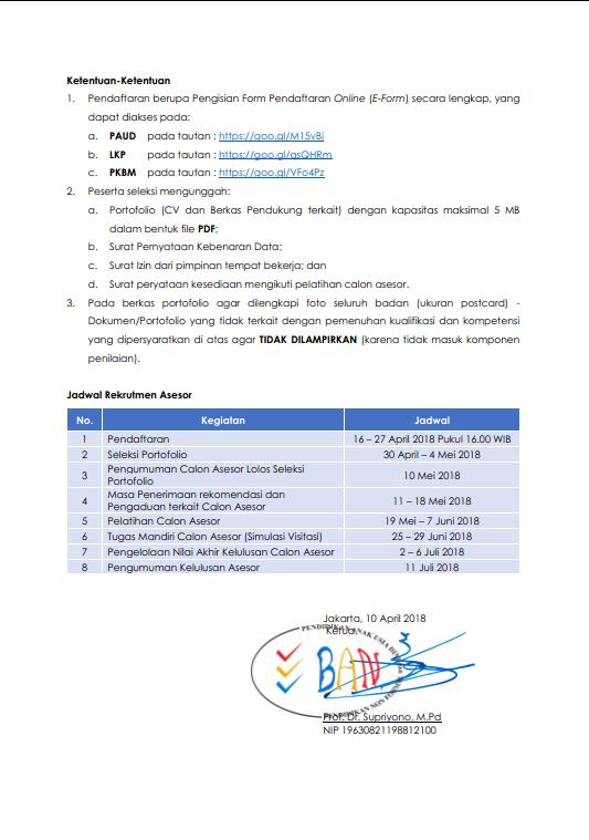 Rekrutmen (Seleksi) Calon Asesor Ban Paud Dan Pnf Tahun ...