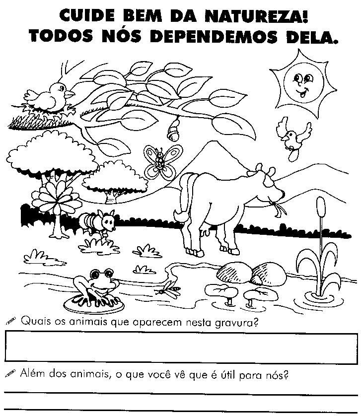 Interpretação de imagem, cruzadinha do meio ambiente, completar as frases sobre meio ambiente, caça palavras meio ambiente, produtos de origem animal, produtos de origem vegetal, utilidade das plantas, o solo, os animais a água e o ar.
