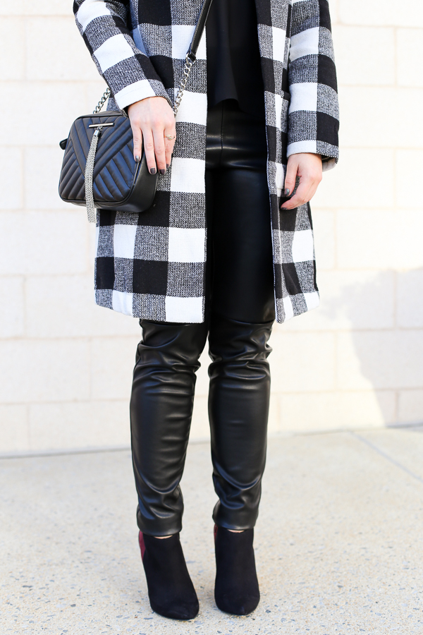 Naturally Me, Holiday Outfit Idea, How to Wear A Plaid Coat for the Holidays, How to Wear a Cami with Leather Pants, Black and White