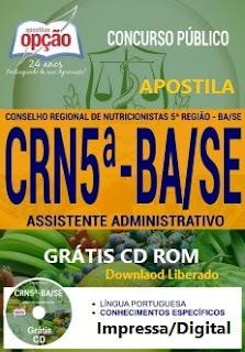 Apostila concurso CRN 5ª Região BA/SE 2017 - Assistente Administrativo