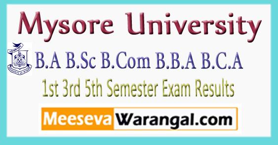 Mysore University B.A B.Sc B.Com B.B.A B.C.A 1st 3rd 5th Semester Exam Results 2017