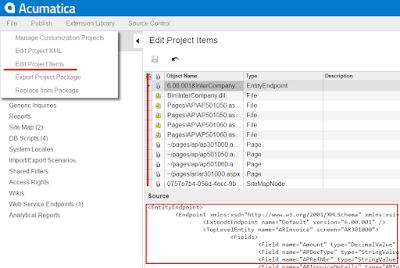 Edit Project Items menu acumatica