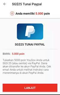 Penukaran Poin dengan Paypal Aplikasi YouGov