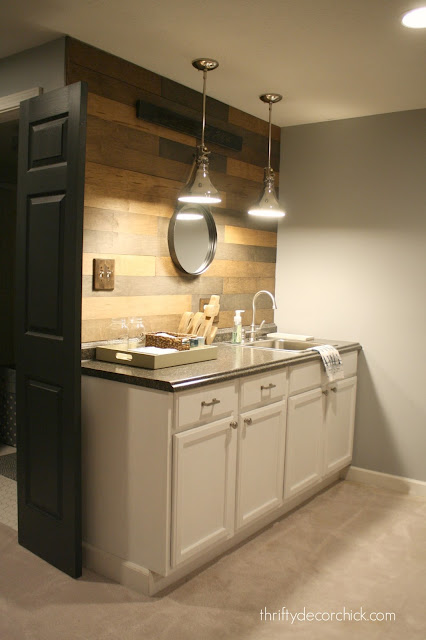 Wood shiplap/planked wall over kitchenette