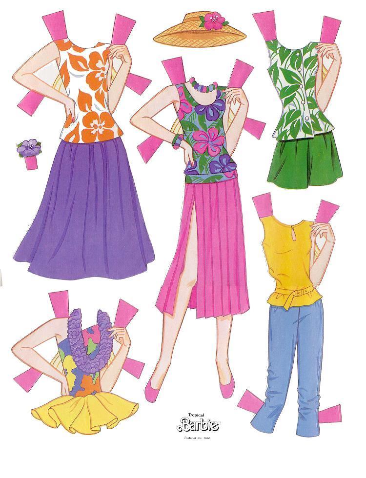 Miss Missy Paper Dolls: Tropical Barbie Paper dolls