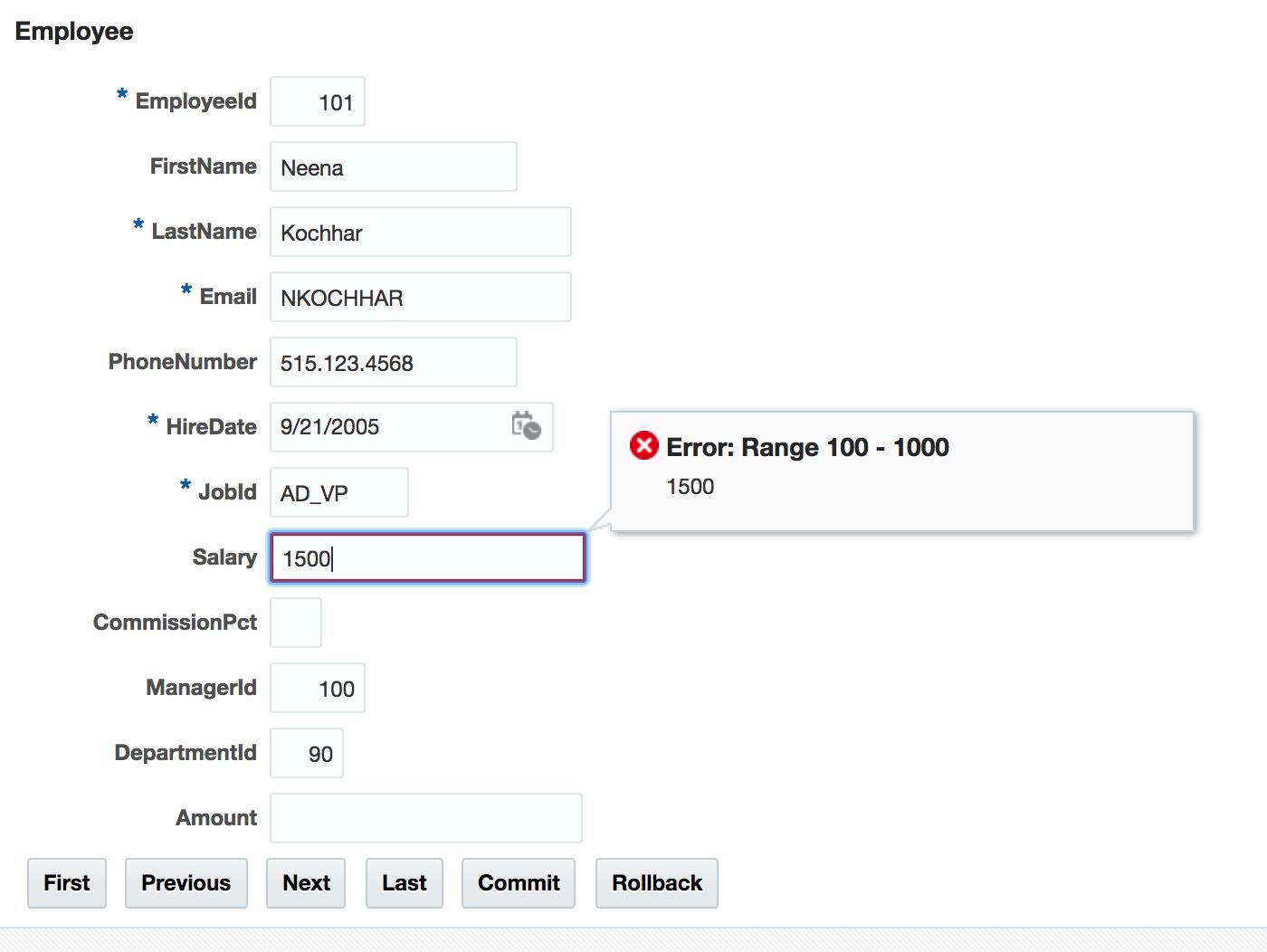 Andrej Baranovskij Blog: ADF Client Side Validation with