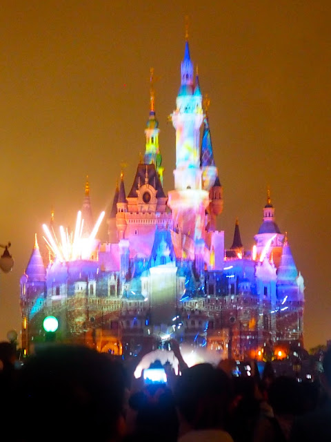 Ignite the Dream evening light & fireworks show on the Enchanted Castle at Shanghai Disneyland, China